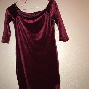 Dresses & Skirts - Burgundy velvet mini tight dress